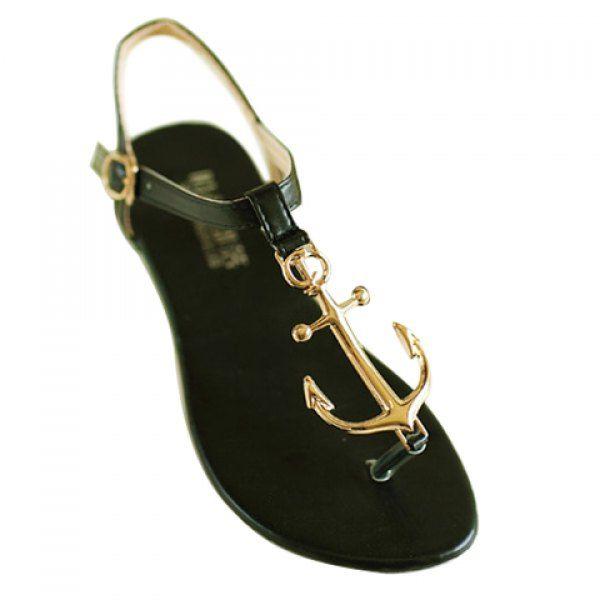 Stylish Flip-Flop and Metal Design Women's Sandals, BLACK, 39 in Sandals | DressLily.com