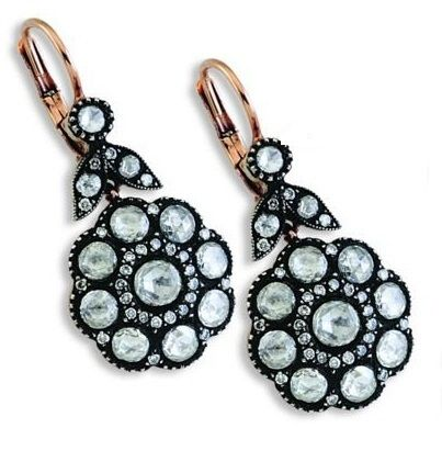 Ottoman style earring diamond and gold