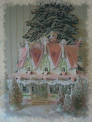 Shabby pink victorian christmas village house chic roses glitter snow
