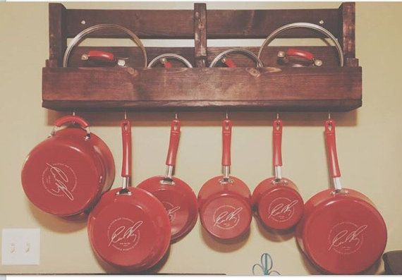 "Pot and Pan Rack, Industrial Rustic Pot Rack Utensil Holder ,Chef hanging rack, 36"" WOOD Wooden rack shelf"