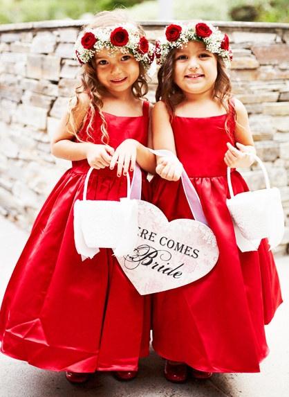 Little Red Flower Girl Dresses