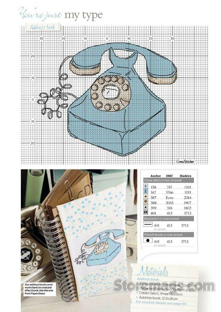cross stitch vintage phone