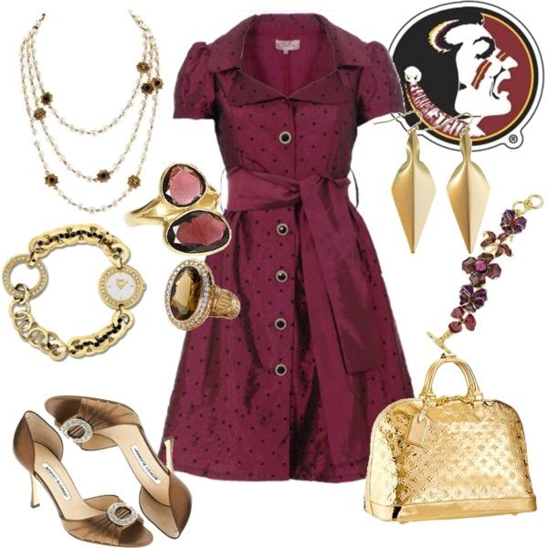 Outfit -- Florida State Seminoles: Fit Outfits, Tailgating Outfits, Gold Outfits, Dresses Garnet, Outfits Fo, Workout Outfits, Dresses I, Everyday Outfits, The Dresses