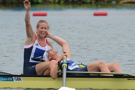 Helen Glover and Heather Stanning win the Women's Pair and celebrate two historic landmarks - becoming Team GB's first gold medallists of the games and the very first female British rowing gold medallists.