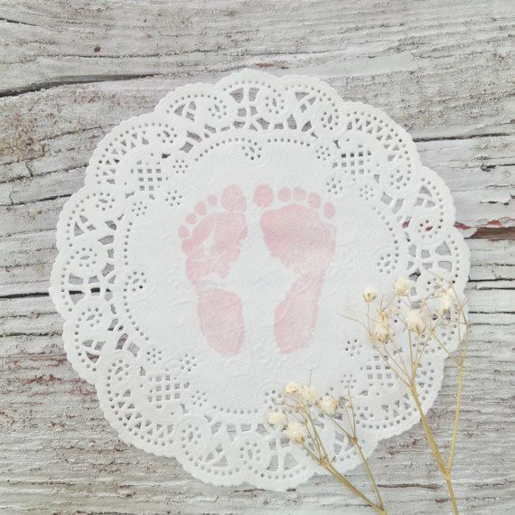 10 for $5  Shabby Chic Baby Shower Doilies, 10 Paper Doilies,  DIY Vintage Baby Shower Decor, Pink Baby Feet Doilies
