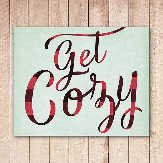 Get Cozy Art Printable, Buffalo Plaid, Typography Sign, Winter Decor, Christmas Print, Instant Download