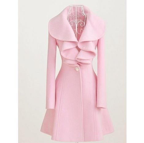 Pink PeacoatPink Coats, Fashion, Style, Clothing, Colors, Collars, Jackets, Winter Coats, Ruffles