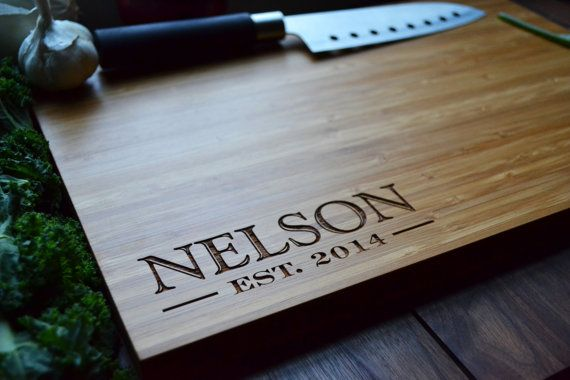 """Personalized Cutting Board Engraved Bamboo Wood """"Family Name in Corner"""" for Wedding, Anniversary gift"""