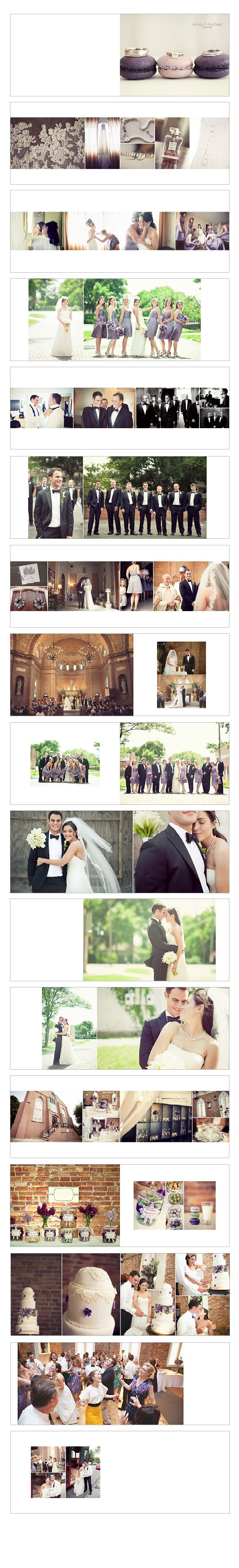 a variety of possible layout ideas, some are a bit busy for our tastes, and not enough white space, but some good ideas of picture combinations to get started with