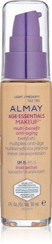 Almay Age Essentials Anti-Aging SPF 15 Foundation, 130 Light / Medium Neutral (Pack of 2). Almay Age Essentials Anti-Aging SPF 15 Foundation, 130 Light / Medium Neutral (Pack of 2).
