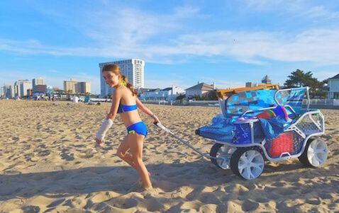 Carro de playa para llevar todo lo que necesitas para un día en el mar