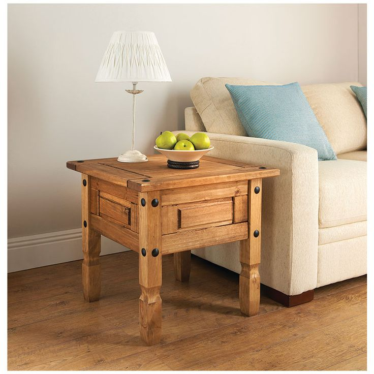 Rio 1 Drawer Table - Solid pine furniture in a rustic finish with iron style fixings - attractive and affordable indoor furniture available at B&M stores