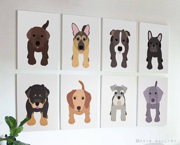 Puppy dog nursery decor. Dog canvas wrap art prints. SET OF ANY 4 dog prints on gallery wrapped canvas by Wallfry for playroom decor. by Wallfry on Etsy https://www.etsy.com/listing/478055564/puppy-dog-nursery-decor-dog-canvas-wrap
