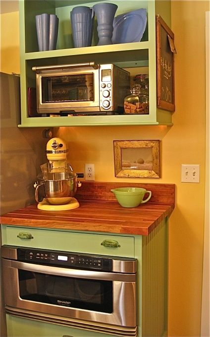 Put micro in a shelf over a counter, instead of stove?