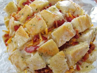 Cheesy Bacon Ranch Bread. Here is another version: http://www.plainchicken.com/2011/07/cheddar-bacon-ranch-pulls.html