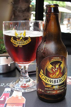 Grimbergen, a very tasty Belgian Dubbel Abbey Ale. Did you know, that the symbol is a Phoenix, to represent the spirit of the brewery. Throughout the years, it was burnt down multiple times, and each time, it rose from the ashes. (Thank goodness, it is such a tasty beer!)