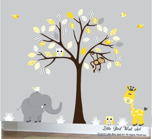 Nursery wall decal design art yellow grey by Littlebirdwalldecals, $120.00