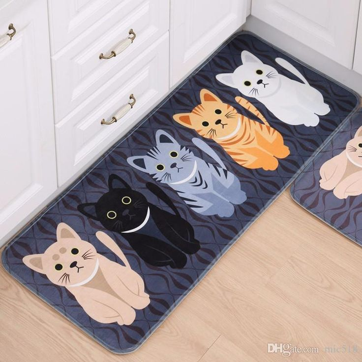New Kawaii Welcome Floor Mats Animal Cute Cat Print Bathroom Kitchen Carpets House Doormats for Living Room Anti-Slip Tapete Rug