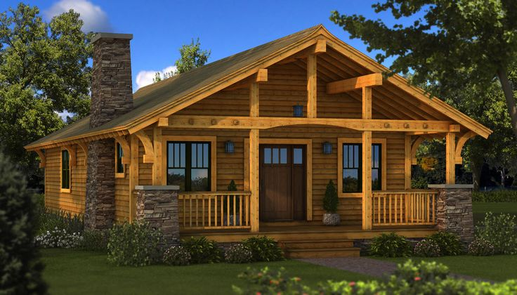 Log home front porch bungalow log home cabin plans for Single story log cabins