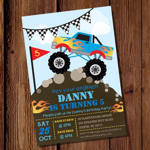 Monster Truck Party Invitations