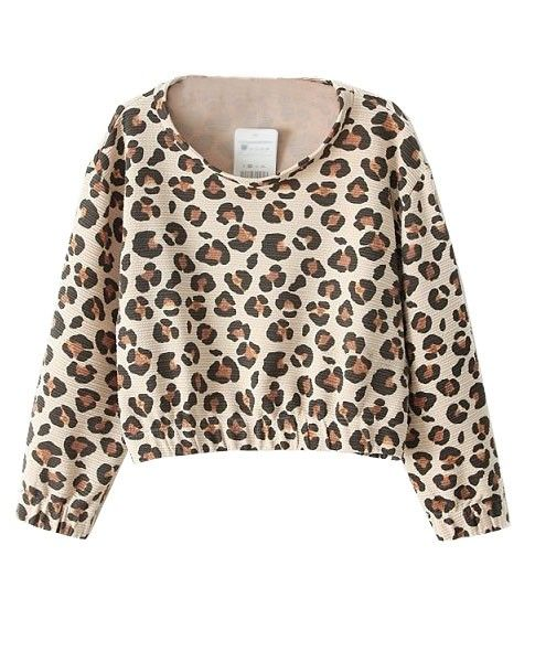 Fashionable Leopard Print Cropped T-shirt - Clothing