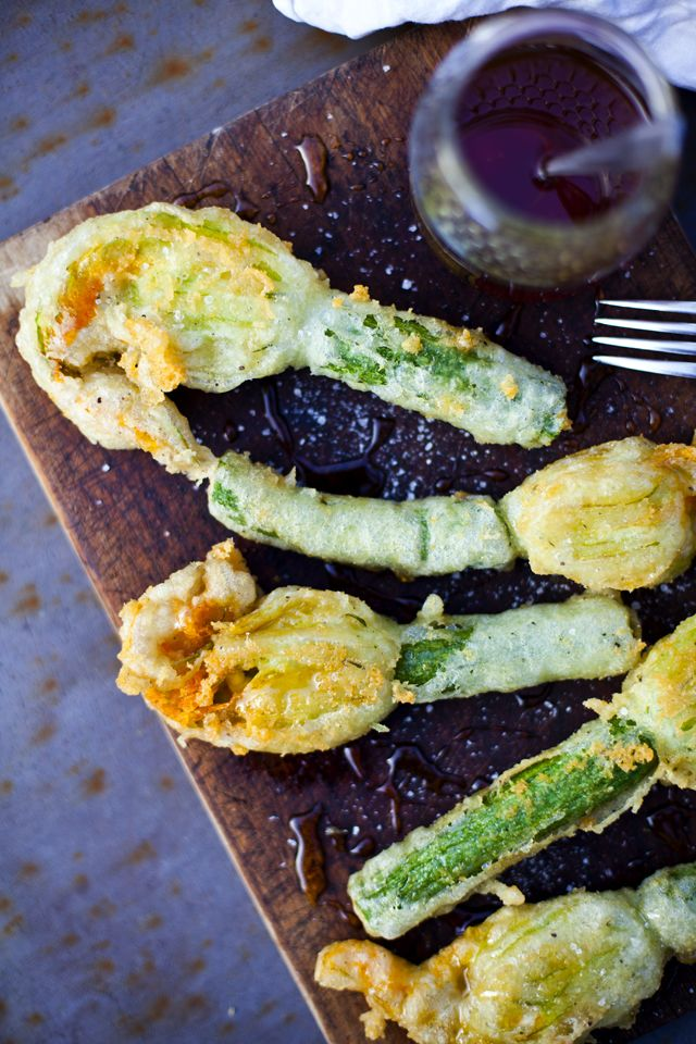 Deep Fried Courgette Flowers stuffed with Goats Cheese and drizzled with Lavender Honey... | DonalSkehan.com