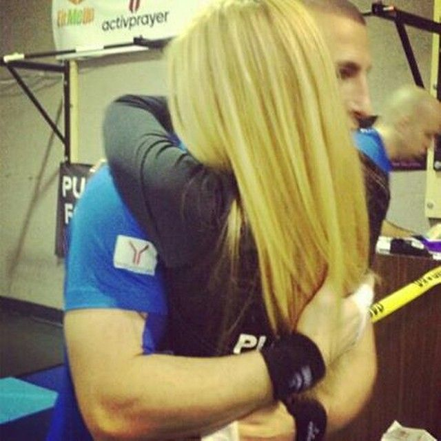 Paul Theodore of Fit Me Up Fitness shares a hug with Zoe, the intention of his Guinness World Record-breaking attempt at pull-ups in 24 hours to raise money for Cystic Fibrosis. #idedicate #activprayer #nonprofit