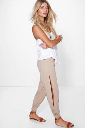 Ria Basic Jersey Split Side Hareem Trousers