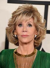 Mode Jane Fonda Style Medium Loose Wave geschichteten Kunsthaar Capless Perücke