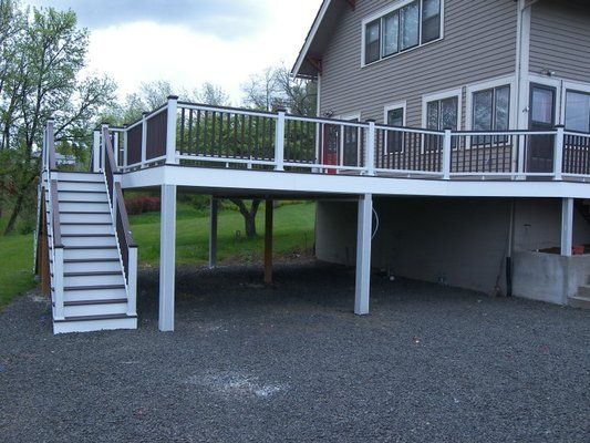 Image gallery deck carport for Deck over garage plans