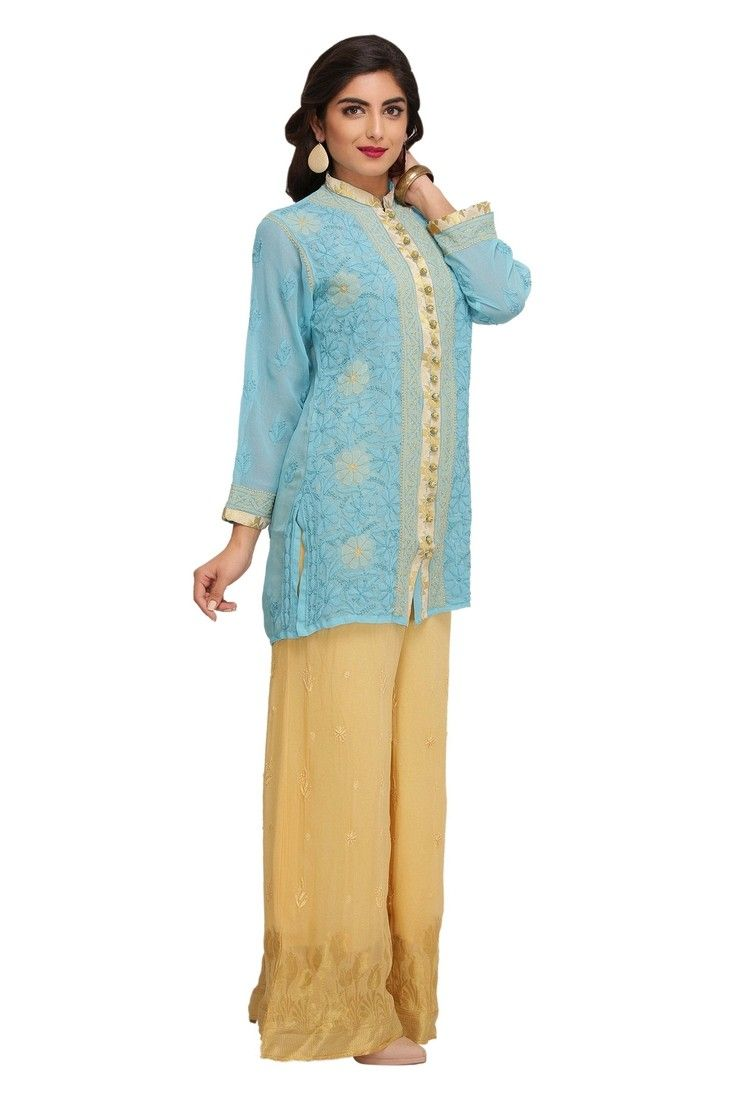Ada Hand Embroidered Blue Faux Georgette Lucknow Chikan Top - A188871 Price Rs.1,490 #Ada_Chikans #Lakhnawi_Chikankari #Ethenic #IndianWear #Festival #ShortTops #Chikankari #Classy #Handmade #Needelcrafted #Handicraft #Classy #ChikankariTop