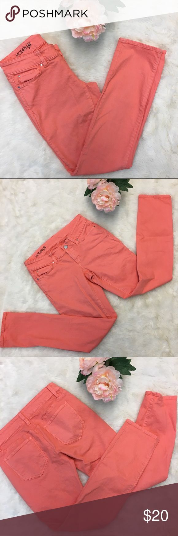 Ann Taylor Modern Fit Coral Skinny Jeans EUC Ann Taylor Modern Fit Coral Skinny Jeans. Straighter fit through hip and thigh. Size is 2P (petite) but fit a size 2. Can roll up or leave them as is. Ann Taylor Jeans