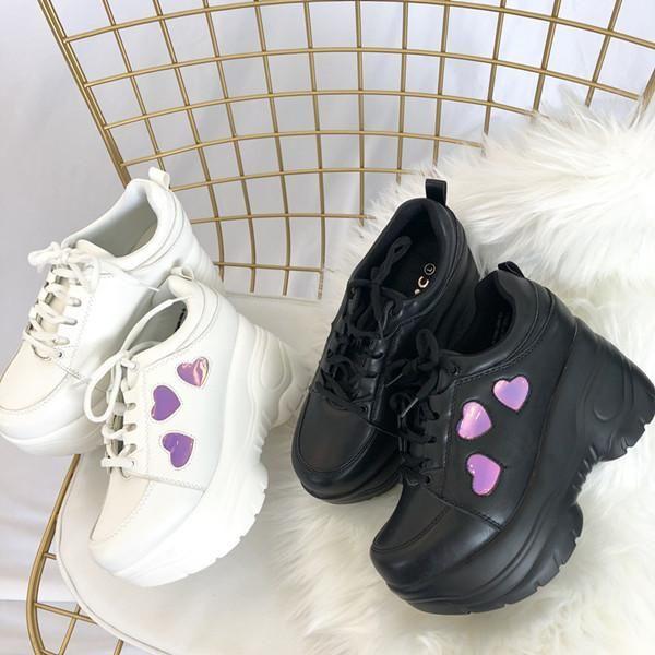 Retro heart laser platform shoes