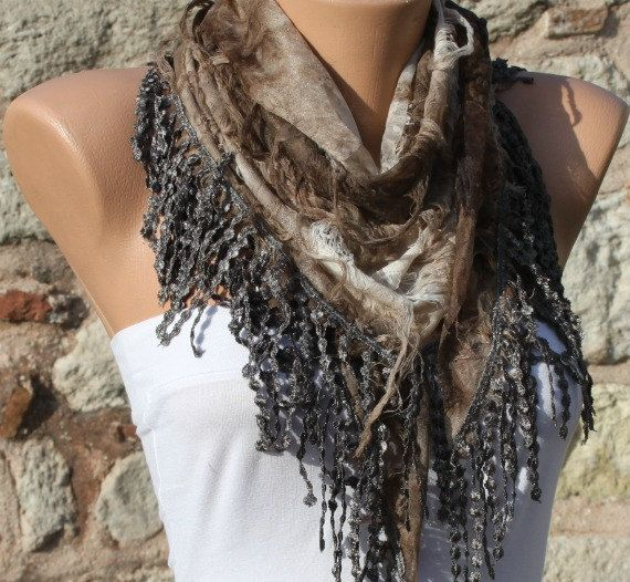 ON SALE Earth Tones Brown Scarf Cowl Scarf with door fatwoman
