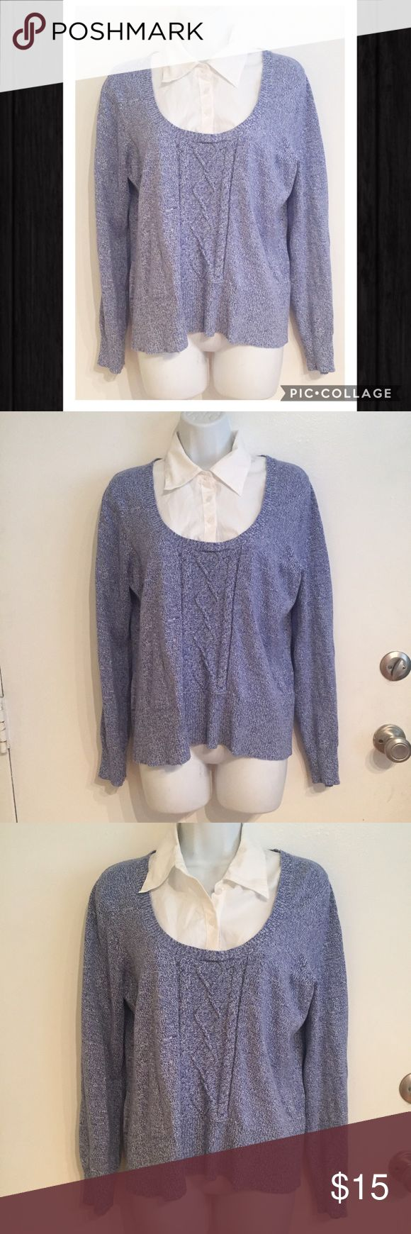Brina & Em Faux Layered Collar Sweater Brina & Em Faux Layered Button Up collared shirt under a blue knit sweater. Perfect pop of color for a spring business casual look. Size large. #brinaem #layered #fauxlayered #buttonup #sweater #shirt #blue #white #collared #businesscasual #large #punkydoodle  No modeling Smoke free home I do discount bundles Brina & Em Sweaters