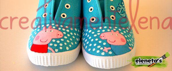 creativamentelena: Zapatillas basadas en Peppa Pig con detalles.