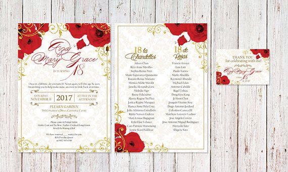 Red Gold Floral Glitter Royal Theme Birthday Debut Invitation #royaltheme #redflowers #glittergold #birthday #invitation #template