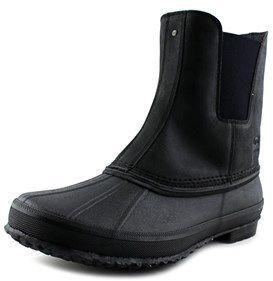 UGG Romosa Men Round Toe Leather Black Rain Boot.