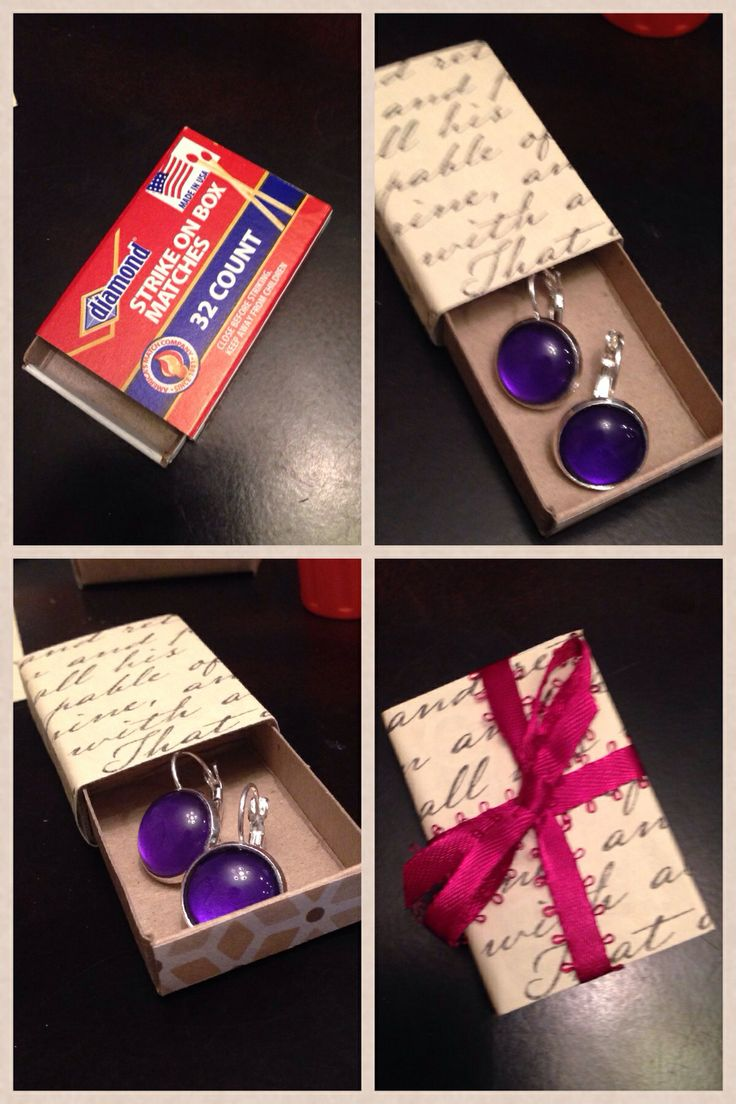 Small matchboxes 10/$1 at dollar tree. Covered with scrapbooking paper and tied with ribbon. Great box to present handmade earrings!