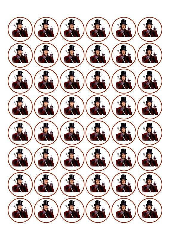 48 X Willy Wonka Edible Cake Decorations Cupcake Toppers