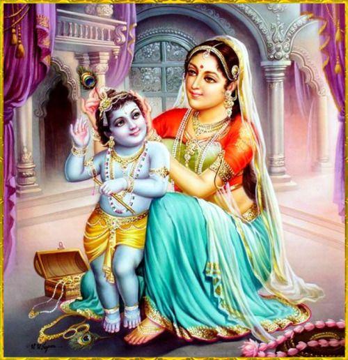 """✨ YASHODANANDANA KRISHNA ✨""""The glories of the Supreme Personality of Godhead are studied through the three Vedas, the Upanishads, the literature of Sankhya-yoga, and other Vaishnava literature, yet mother Yashoda considered that Supreme Person her ordinary child.""""~Srimad Bhagavatam 10.8.45"""