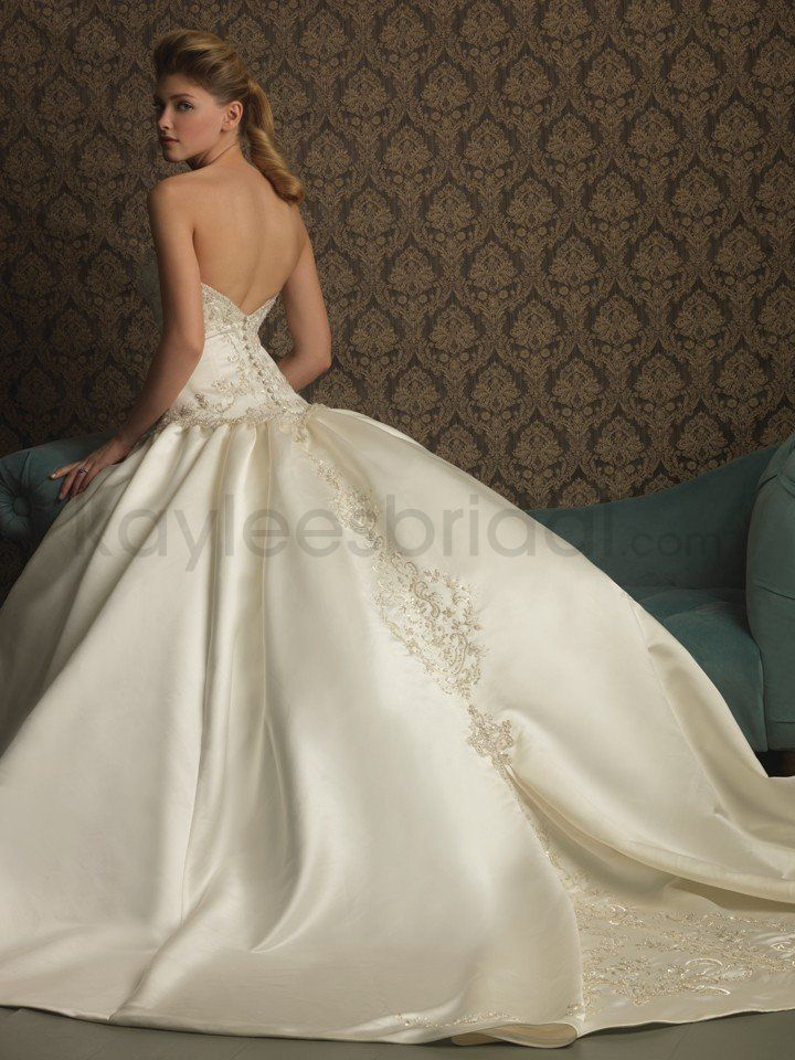 Satin Fitted Bodice Sweetheart Ball Gown Wedding Dress