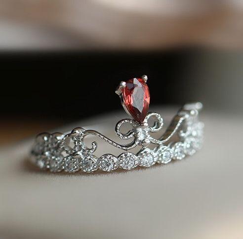 Simple Art Deco Garnet Promise Ring In Sterling Silver
