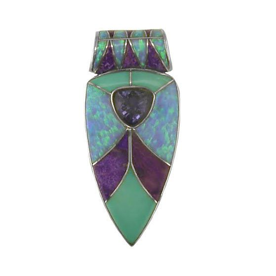 Offerings Sajen 925 Sterling Silver Turquoise, Opal,  Sugilite Inlay Pendant #Sajen #Pendant