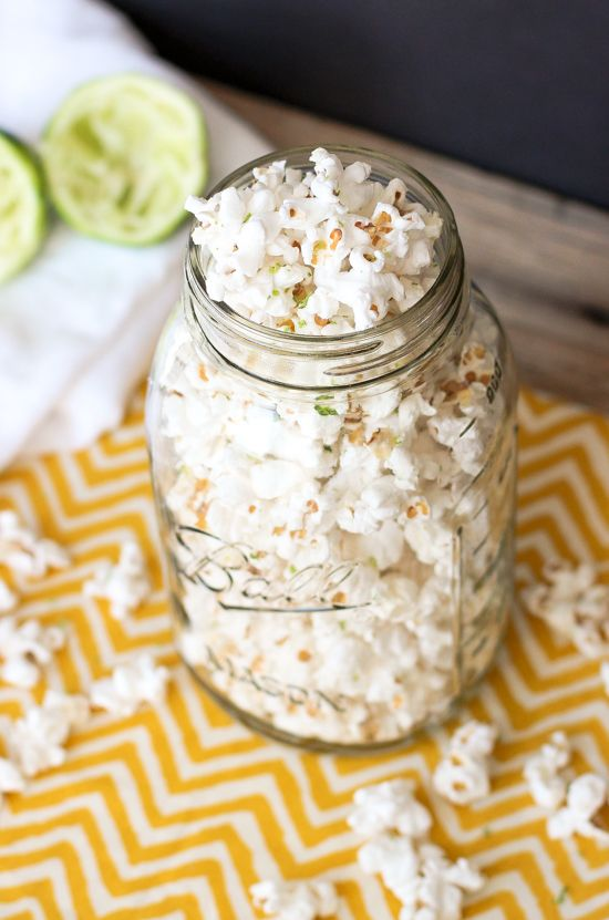 Salted Lime Popcorn - an addictive, salty and tart snack! Made on the stove top with coconut oil. | mysequinedlife.com