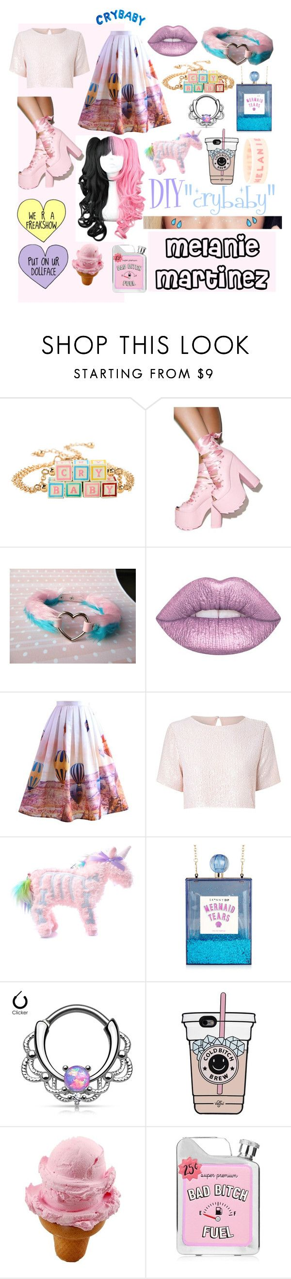 """""""DIY Halloween Costume Crybaby Melanie Martinez"""" by deisyvegaa ❤ liked on Polyvore featuring Y.R.U., Lime Crime, Chicwish, True Decadence, Current Mood, halloweencostume, Crybaby and DIYHalloween"""