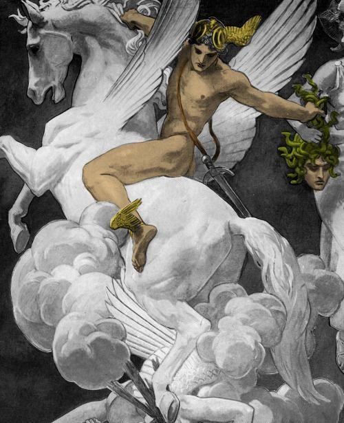 Perseus on Pegasus Slaying Medusa, John Singer Sargent (via picofthegay)