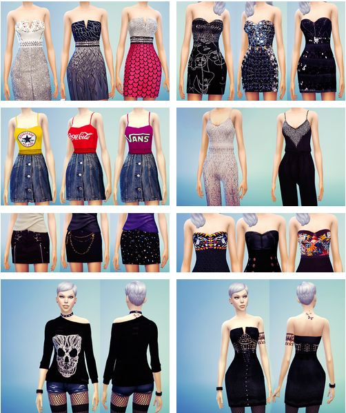 MissFortune Sims: 15 Dresses, 3 Jumpsuits, 3 Skirts, 3 Tops, 2 Blazers, 2 Sweaters, 2 Outfits • Sims 4 Downloads