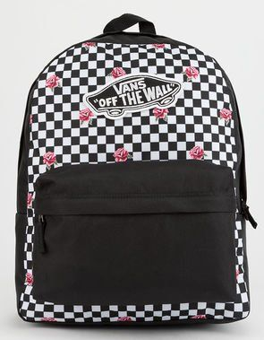 651e0a5d49 VANS Realm Rose Checkerboard Backpack