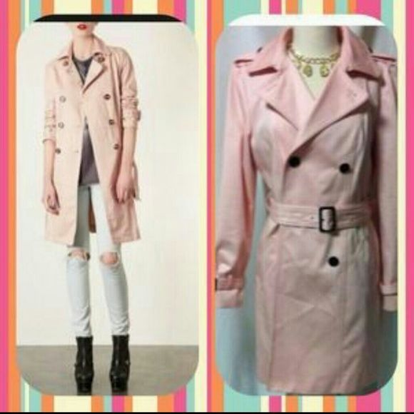 TRADE ?Ann Kline light pink trench coat lined MED Beautiful pink coat with black buttons and belt. Belt buckle has small scratch on it. Fully lined gorgeous condition. Very warm thick jacket quality all the way around. Ann Klien Jackets & Coats Trench Coats